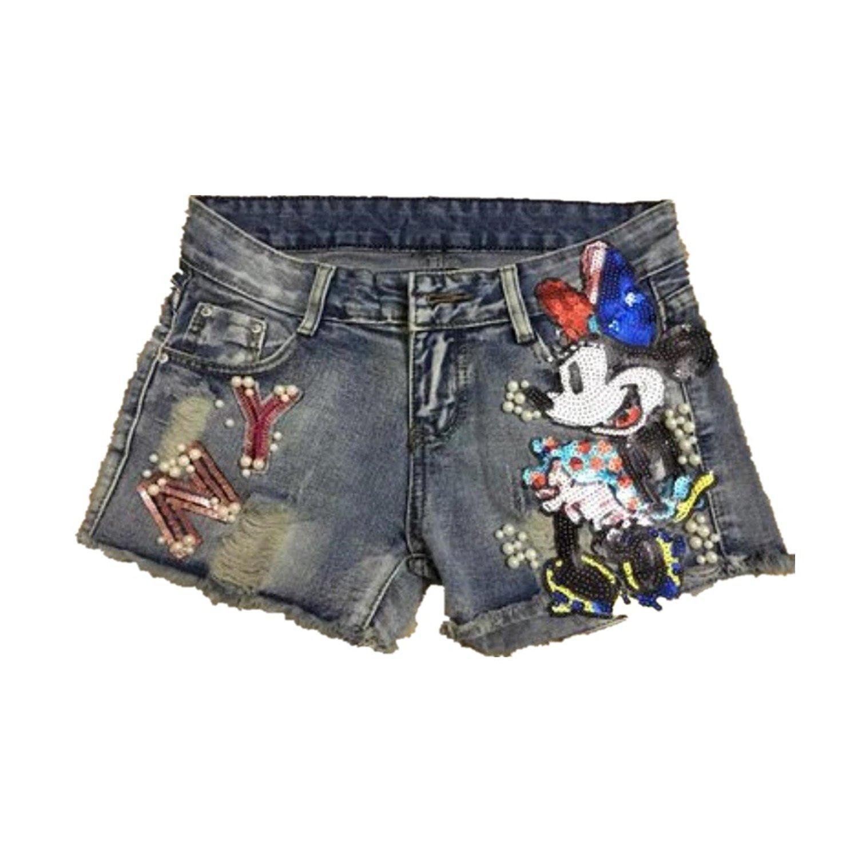 68d42d63086 Get Quotations · sMqdkXbx Summer Denim Shorts Women Sequined Decorate Jeans  Shorts Female Casual mid Waist Short Jeans Plus