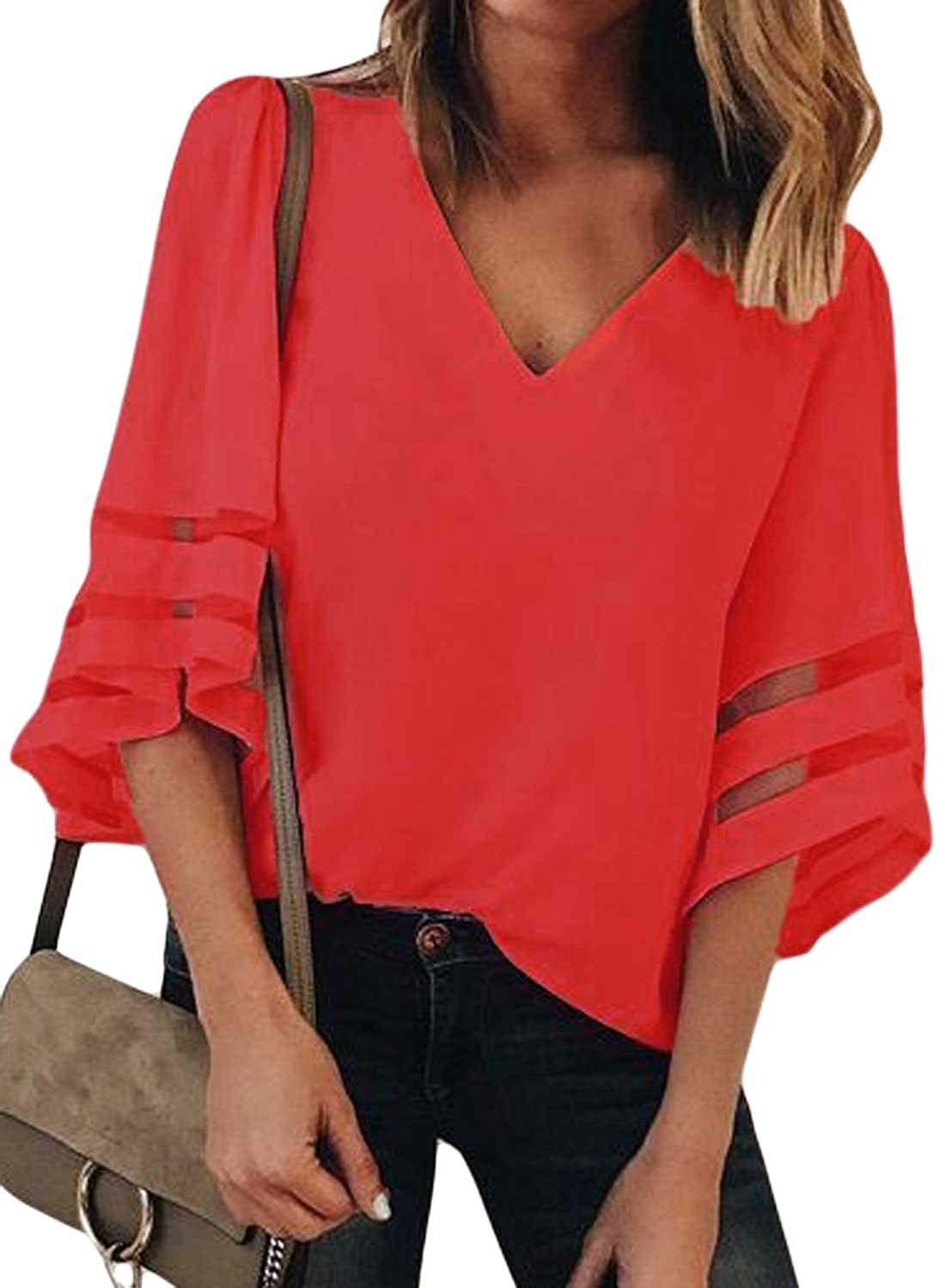 Allumk Womens 3/4 Bell Sleeve V Neck Lace Patchwork Chiffon Blouse Casual Loose Shirt Tops