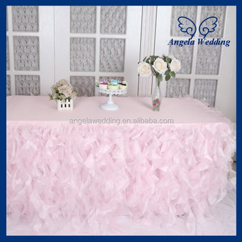 Cl010g Hot Sale Elegant Organza 6ft Rectangle Ruffled Curly Willow Frilly Fancy Wedding Light Pink Table Cloths Buy Light Pink Table Cloths Cheap