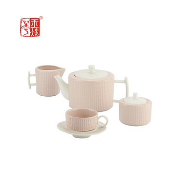 Made In China Arabic 17 pcs Wavy Grain Pink Ceramic Tea Set