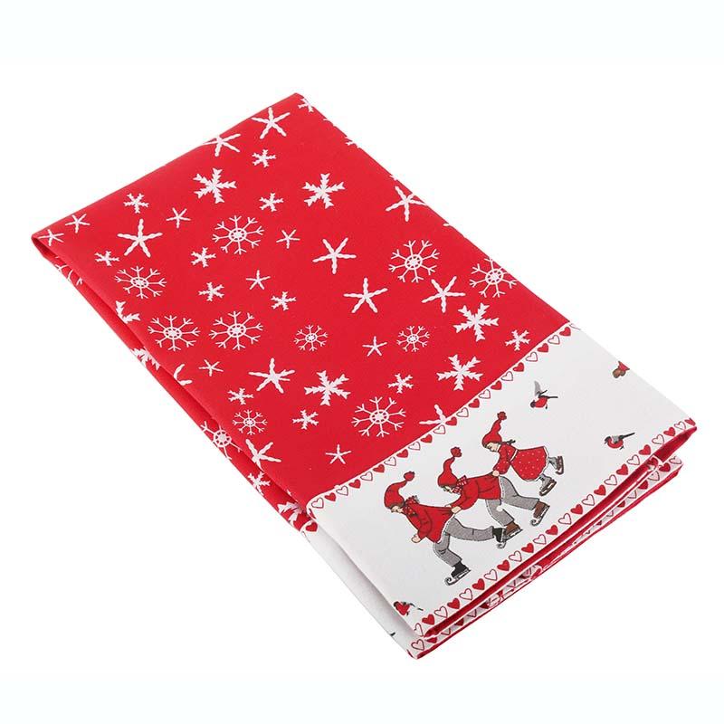 ขายส่งที่กำหนดเองพิมพ์คริสมาสต์การออกแบบผ้าฝ้าย100จานห้องครัวผ้าขนหนู