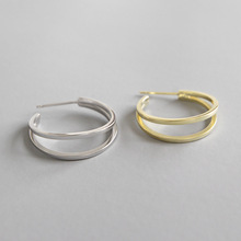 Real 18 천개 금 plated Solid 925 sterling silver 두 번 링 귀걸이 대 한 lady