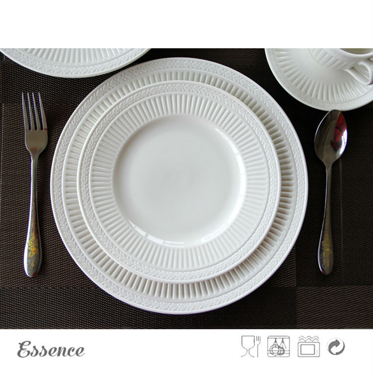 16pcs White Porcelain Embossed Dinner Set for Wholesale