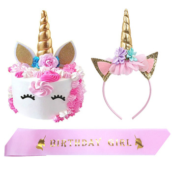 Unicornio Fiesta Glitter Oro Unicornio Topper De La Torta De Papel