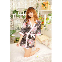 2018 New Arrivals Women's Sexy Lingerie Silk Satin Short Pajamas Wedding Bride Sleepwear Dressing Gowns Kimono Floral Bathrobe