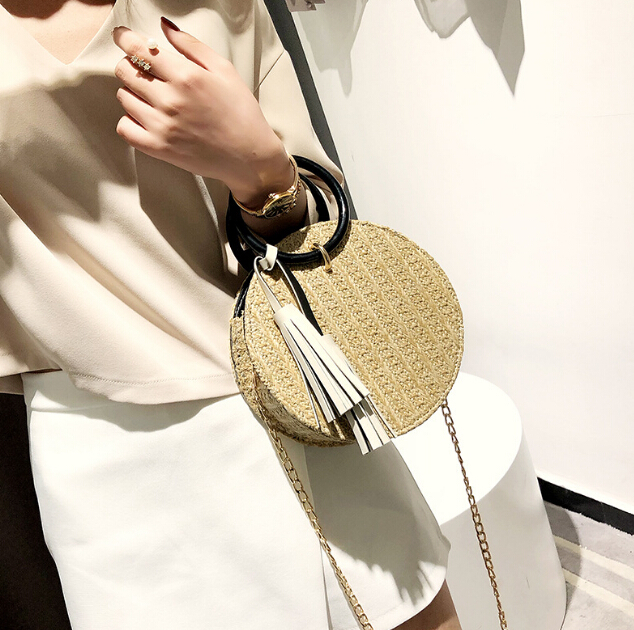 2018 Amazon Top Seller Fashion Tassels Round Straw Handbags Wholesale