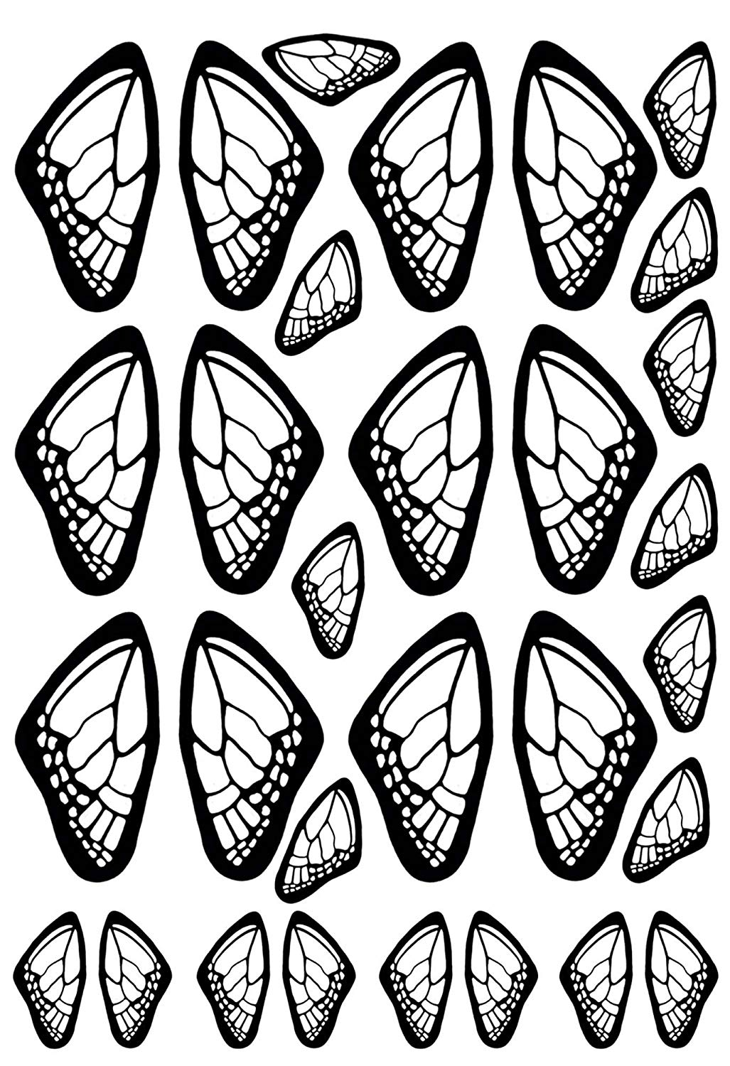Butterfly Wings 1-3//8 Black 15CC544 Fused Glass Decals