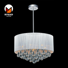 6 light drum water drop waterfall crystal white color chandelier lamp with fabric shade MY8896P-18 BK