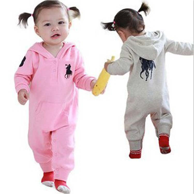 Spring New Baby Polo Romper baby romper with hat Hooded long sleeve boy girl child climbing clothes suit