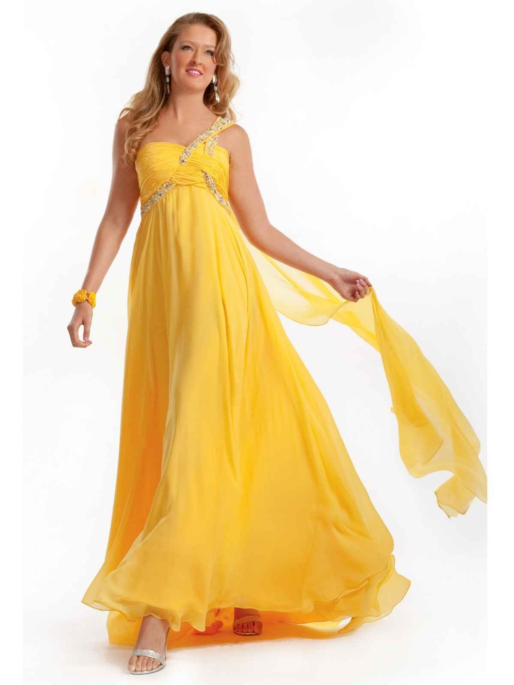 Long Evening Dress Crystal Beaded Evening Gown One Shoulder Empire Open Back Chiffon Yellow Prom Dresses Robe De Soiree JING375