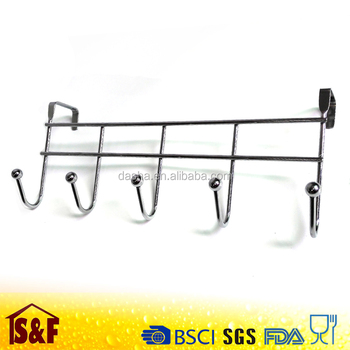 Metal Over Door Hook Rack For Bathroom Clothes Hanger