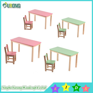 New style solid wood material kids school tables and chairs set for nursery school table furniture