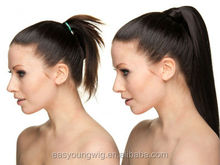 ribbon wrapped Straight ponytail, synthetic hair pieces