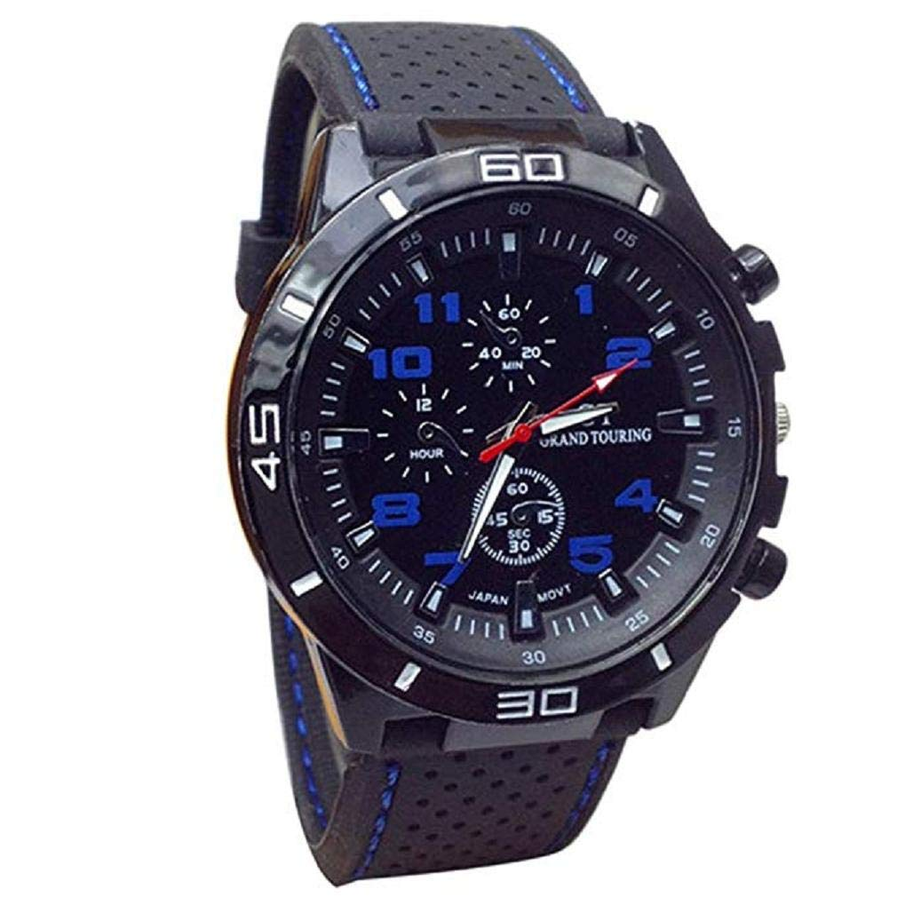 Womens Mens Unisex Quartz Watch, Windoson Unique Analog Casual Fashion Wristwatch,Clearance Cheap Watches with Round Dial Case,Comfortable Silicone Band (Blue)