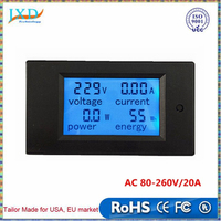 New 4 in 1 meter Voltage Current Power Energy meter Gauge AC 80-260V/20A voltmeter Ammeter Watt Power Meter