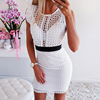 Ruffles Hollow Out Lace Bodycon Dress