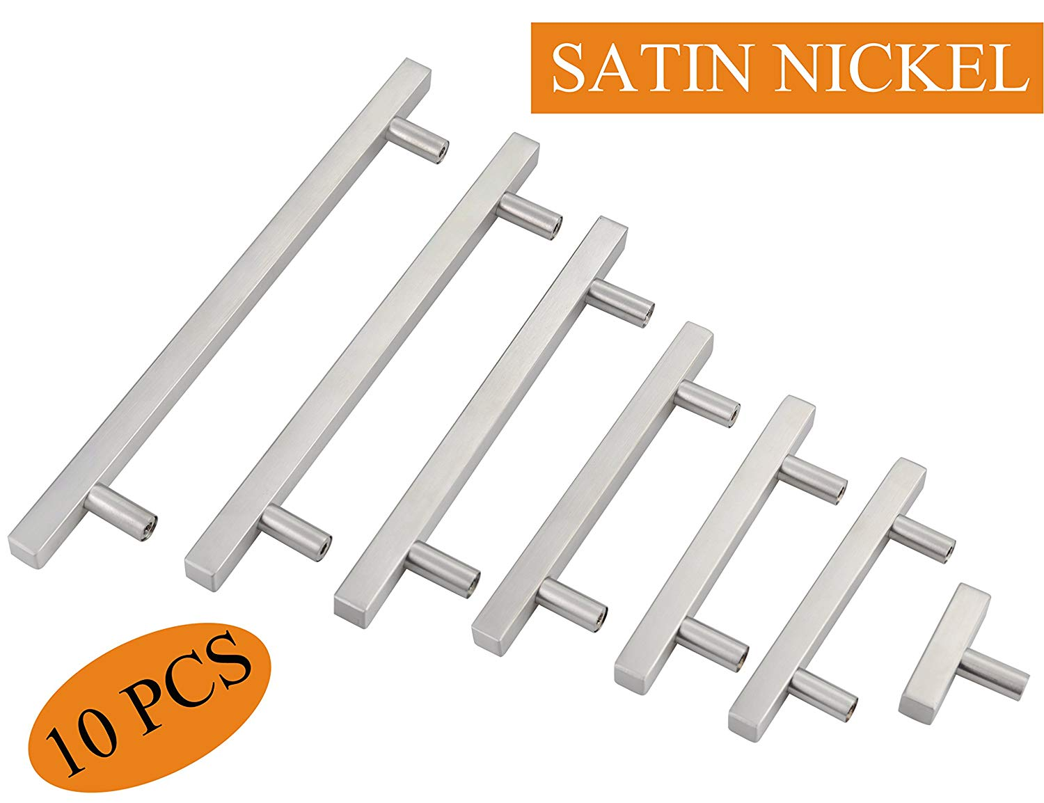 "Silver Dresser Handles:Cabinet Hardware Cupboard Pull Kitchen Cabinet T Bar Handle Dresser Knobs Set - 10"" Total Length,7-3/8 IN Hole Centers - 10 Pack,YTHD1212BN192-10PAMZ"