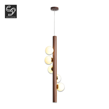Modern art deco hanging round ball black walnut wood line led pendant light