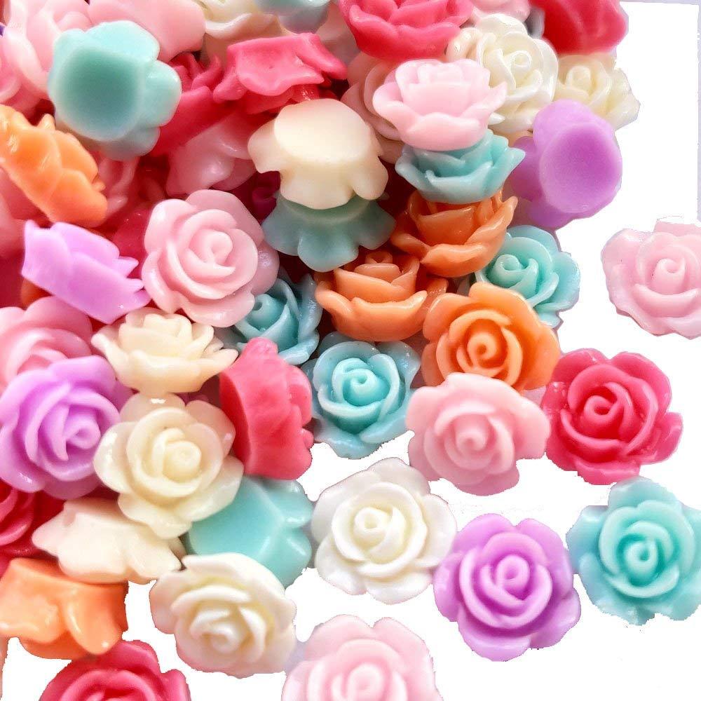 8mm Chenkou Craft Random 100pcs Assorted of Color 8mm Rose Flower Resin Flat Back Flatbacks Loose Beads Kids Bow DIY Craft