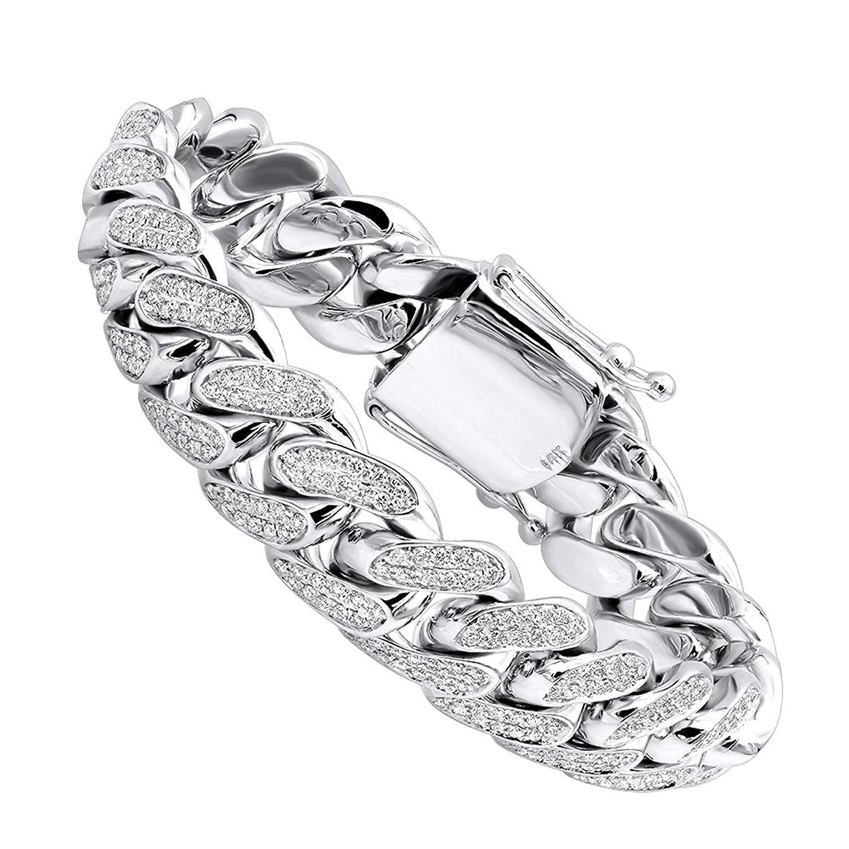 Solid 14k Gold Miami Cuban Link Diamond 17mm Wide Bracelet For Men 9ctw G-H Color by Luxurman