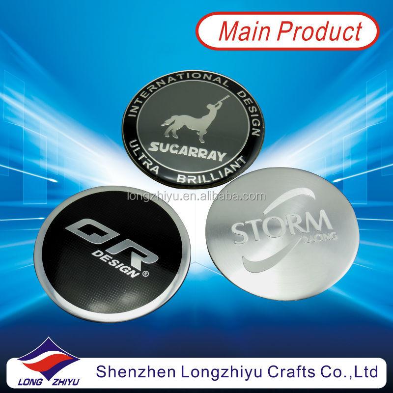 Round custom design aluminum etching and paint filling bike nameplate,3M adhesive label emblem