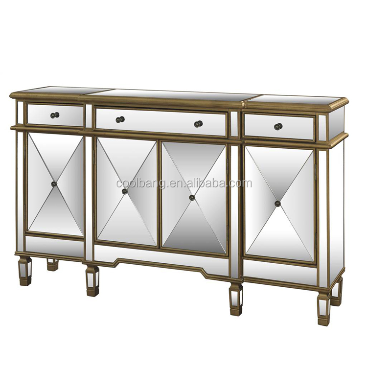 Coolbang White Small Antique Mirrored Chest Furniture