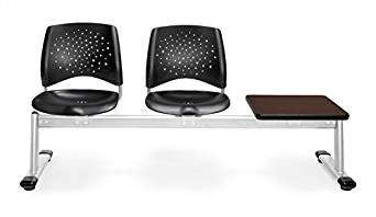 OFM 323T-P-BLK-MH Stars 3-Unit Beam Seating with 2 Plastic Seats and 1 Table