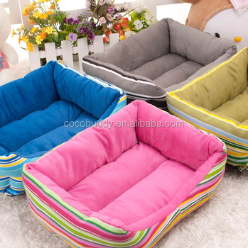 2017 Best Selling Grass Green Striped Dog Outdoor Folding Sofa Cover Bed  With Cushion