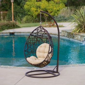 Wicker Rattan Swing Lounge Chair Weaved Egg Shape Hanging Hammock In Or Out  Door Patio Porch