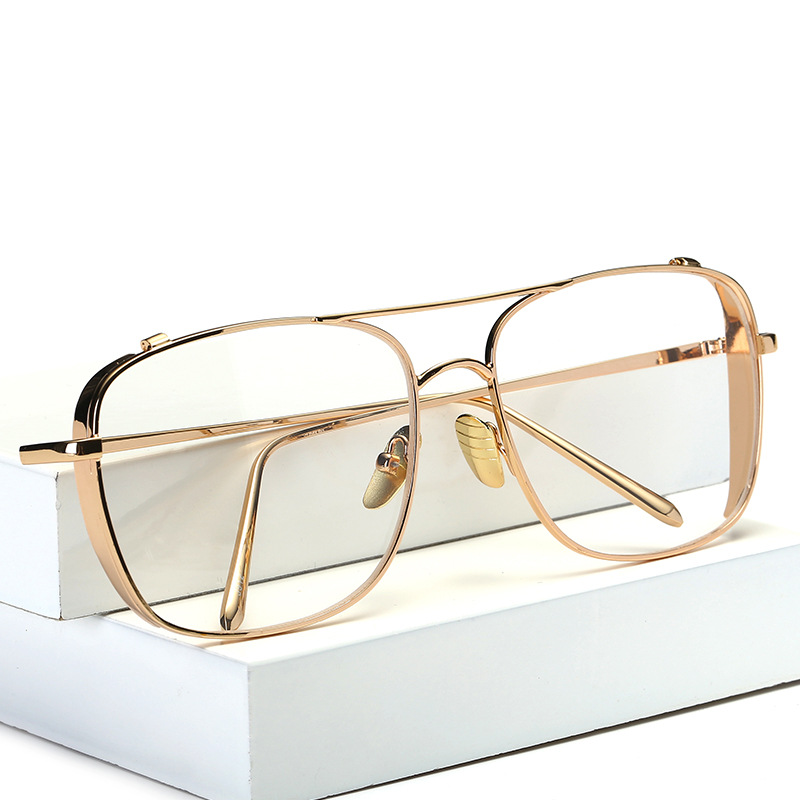 China Supplier Oversized Alloy Eyeglasses Transparent HD Lens Sunglasses Women Optical Glasses Frames for Men Vintage Eyewear