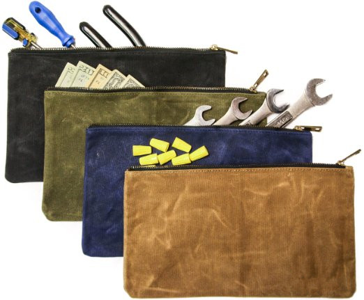 Hot selling custom logo waxed canvas zipper bags tool bag