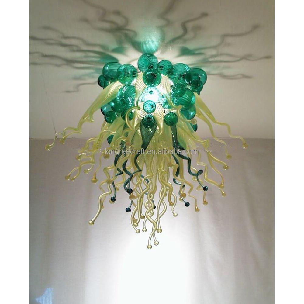 Chegada Nova Cor Verde Artesanal De Cristal Bolhas Decora O Do Teto  -> Lustres Para Sala Artesanal