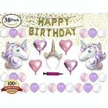 Unicorn Theme Decor Pack, Kids Birthday Party Supplies Set, Glitter Headband for Girl, Gold Banner, Foil and Latex Balloons