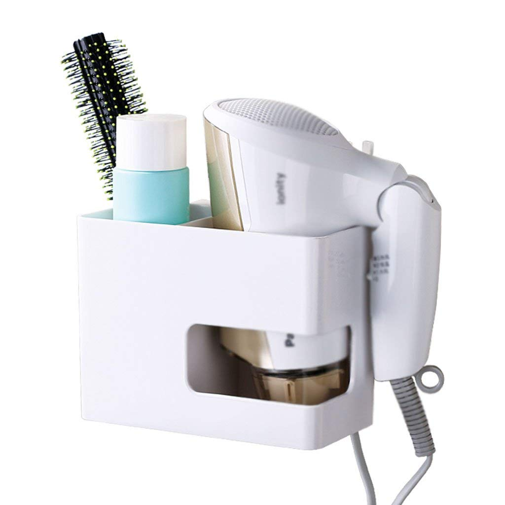 Xiao hong home Bathroom Trays Hair dryer rack free punching rack suction wall single cup holder household bathroom plastic storage rack (Color : White, Size : 168.512cm)