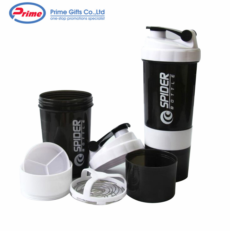 New Design 500ml Plastic Sports Gym Protein Shaker Bottle With Steel Mix Ball