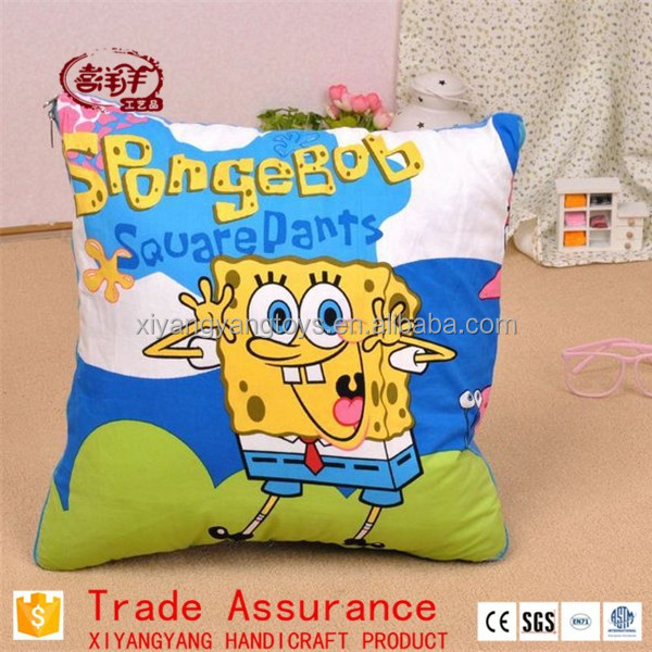 plush printing SpongeBob Square Pants pillow and cushion and air conditioner blanket