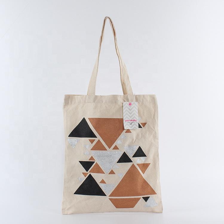 Ginzeal Plain Fashion Shopping Zipper Print Canvas Tote Bag