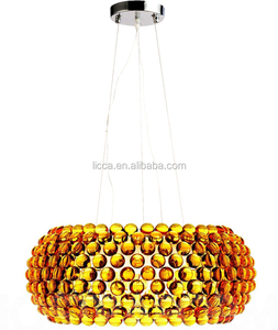 Modern acrylic bead pendant lamp amber color acrylic hanging lamp for home hotel shopping mall