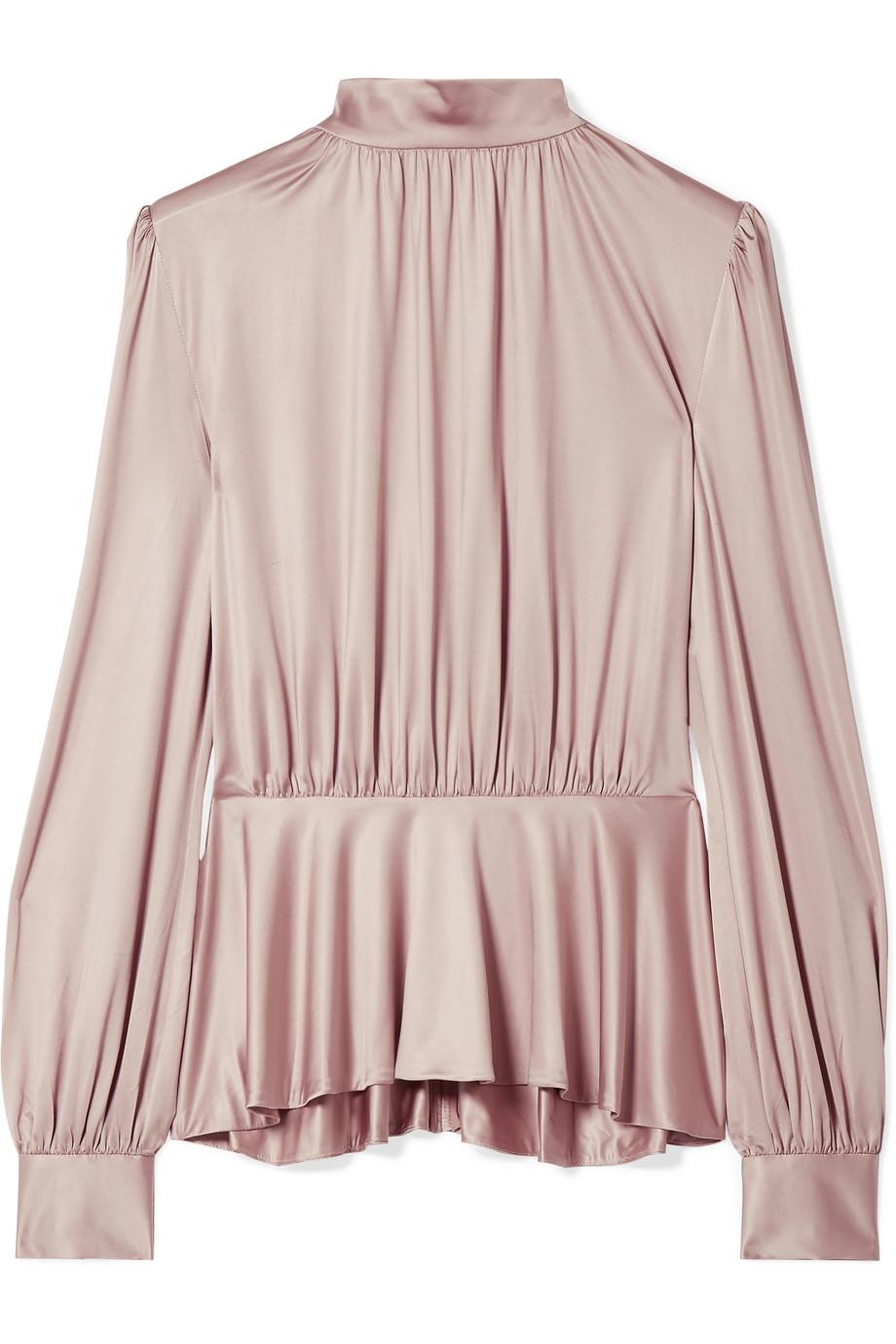 f57f8704e19957 Office Lady Pink Long Sleeve Silk Satin Ruffled Women Blouse - Buy ...