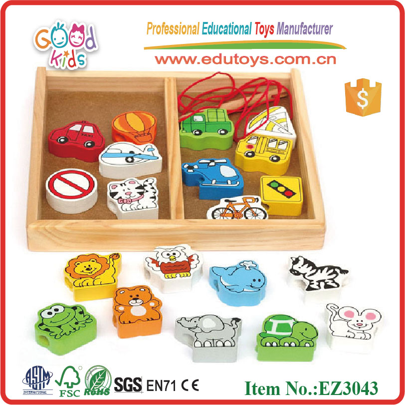 New Educational Toys Animal and Vechile Traffic Sign Shape Beads Wooden Lacing Toys For Kids