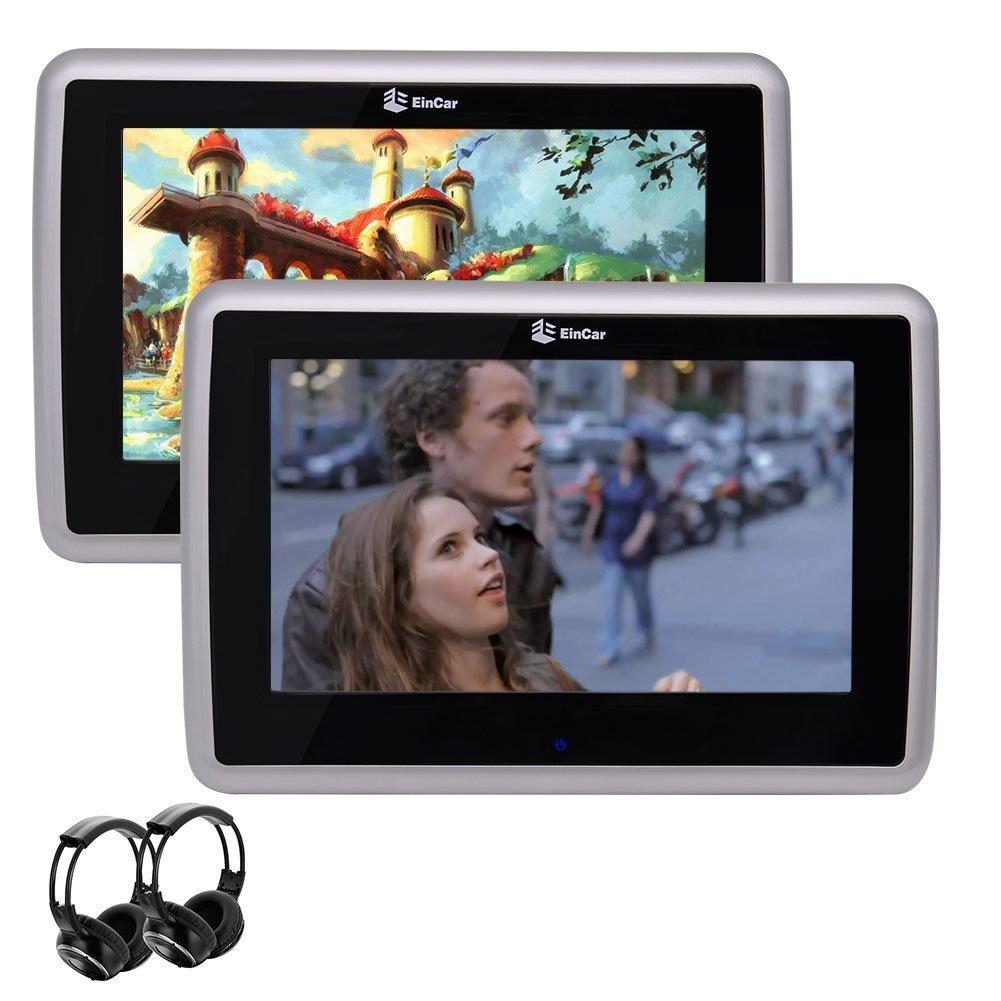 Eincar Dual 10.1 inch Car Headrest DVD Player with 1024 x 600 High Resolution HD Touch Screen Support 1080P videos AV Input & AV Output + Dual Channel IR Headphones