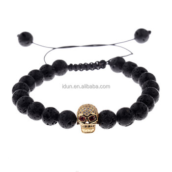 2018 New Arrival Micro Pave CZ Skull Head Lava Stone Beads Adjustable Macrame Bracelet