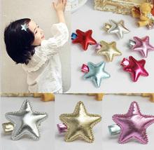 6pcsKorean Top Selling Pu Five Star Kids Hair Clips Alligator Clip Toddler Girl Lovely Hairpins Enfants