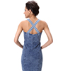 Cross Strap Design Denim Dress Zipper Front Pencil Midi Dress