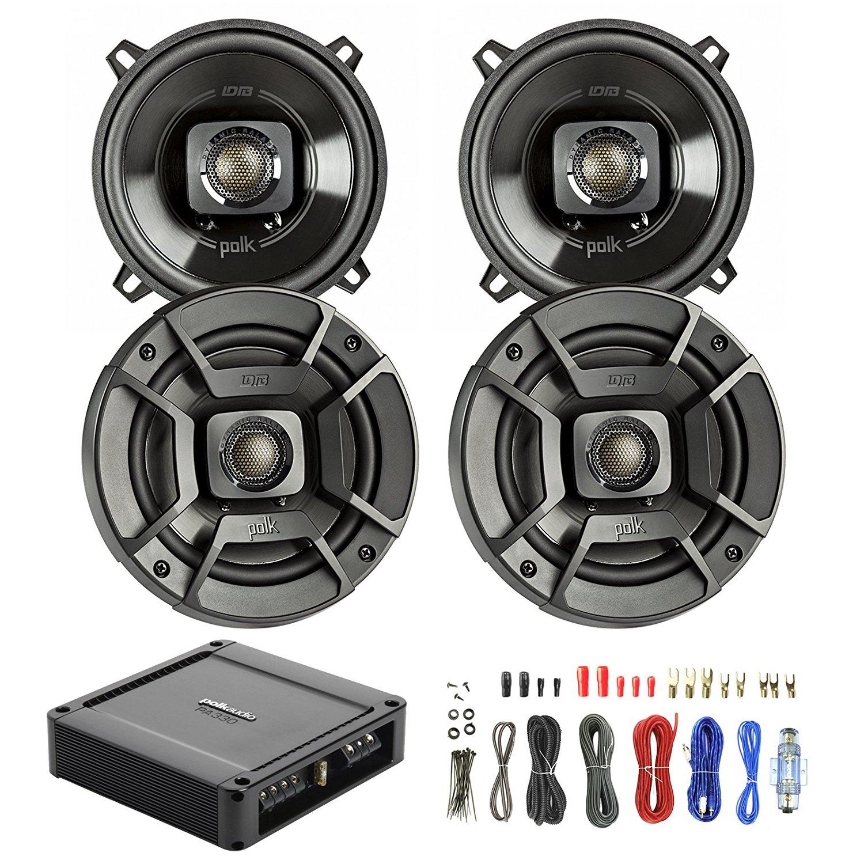 4X Polk Audio DB522 5.25-Inch 300-Watt 2-Way Speakers, New Polk Audio PA330 330W 2 Channel AB MOSFET Car Amplifier Power Amp Stereo, Enrock Audio 8-Gauge Amp Install Wiring Kit