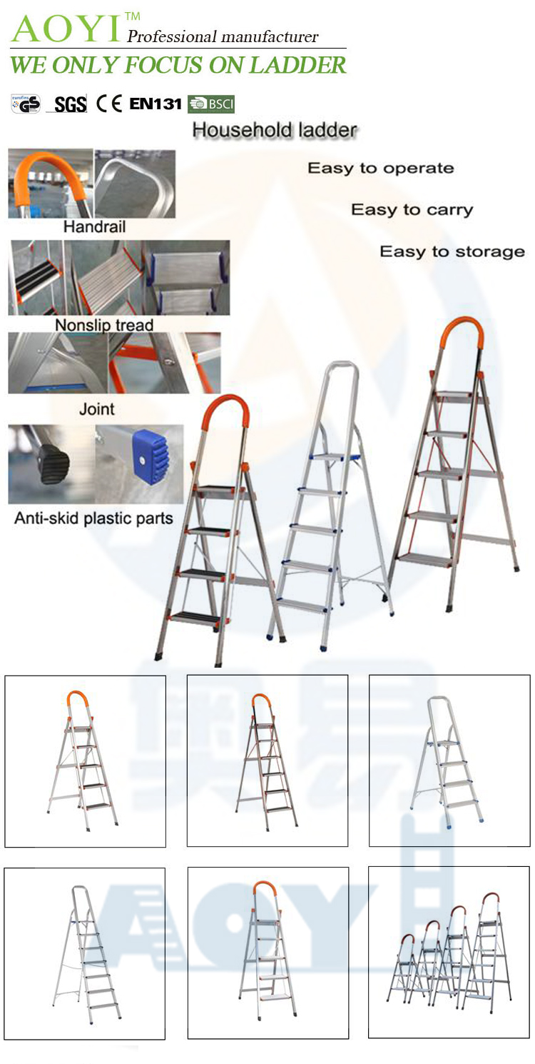 Household aluminum 6 step ladder