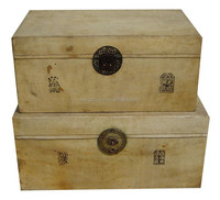 Chinese antique storage leather chest