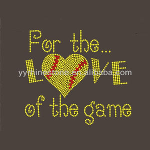 For the Love of the Game Softball Hot Fix Rhinestone Iron On Transfer
