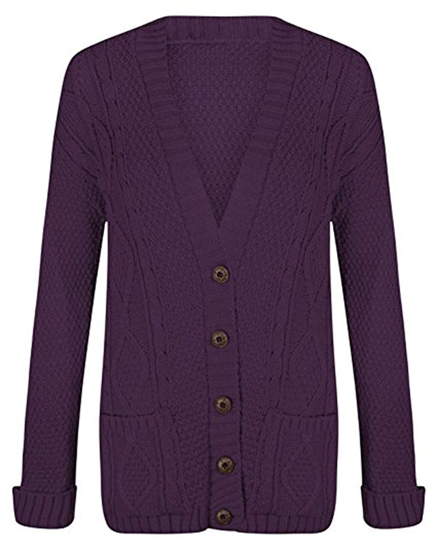 5269c8d551 Get Quotations · Friendz Trendz -Women s Grandad Button Cardigan Chunky Boyfriend  Knitted Cardigan