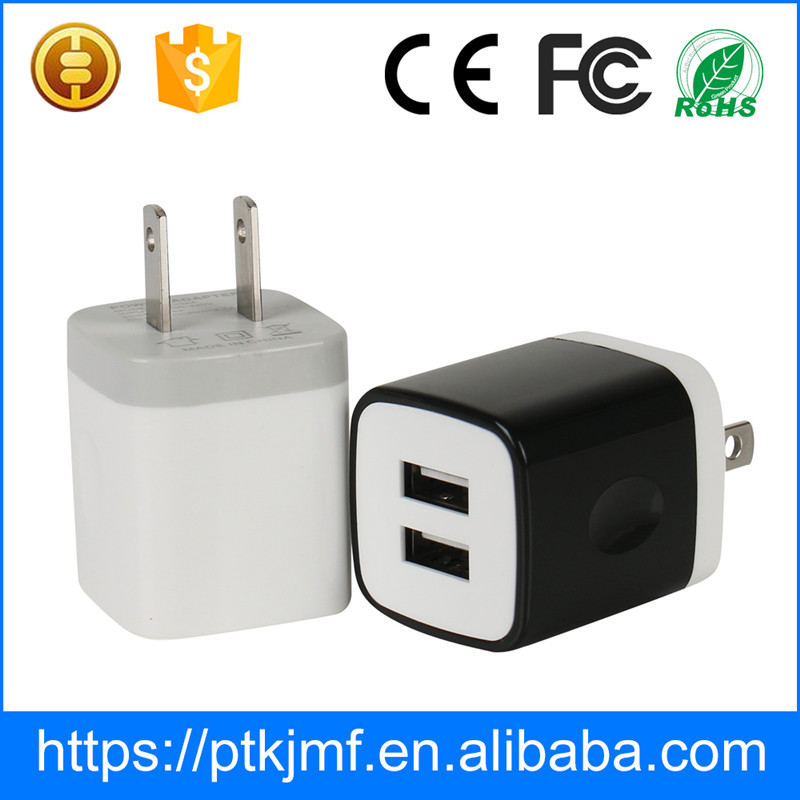 New Hotsale 2017 Universal Cube Dual USB Travel Charger Adaptor with IC